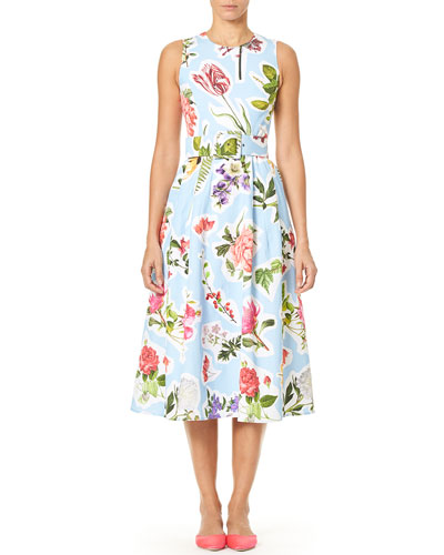 Sleeveless Floral-Print Cotton Faille Fit-and-Flare Midi Dress and Matching Items