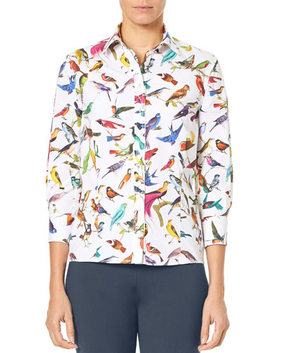 3/4-Sleeve Bird-Print Classic Poplin Blouse and Matching Items