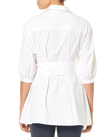 Button-Down Poplin Tunic Blouse w/ Self-Tie Belt & Bird Embroidery
