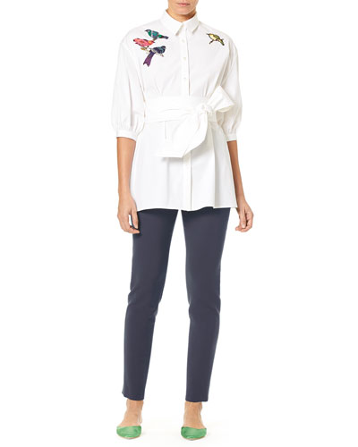 Button-Down Poplin Tunic Blouse w/ Self-Tie Belt & Bird Embroidery  and Matching Items