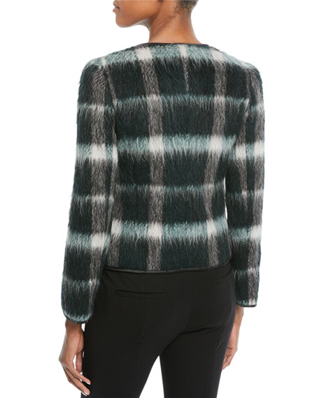 Zip-Front Plaid Mohair Jacket w/ Velvet Pockets