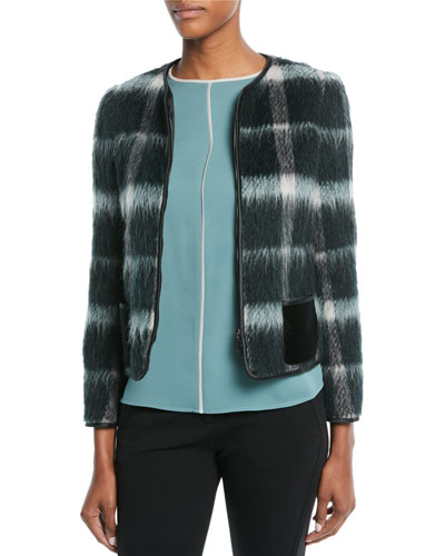 Zip-Front Plaid Mohair Jacket w/ Velvet Pockets and Matching Items