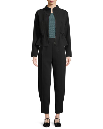 Zip-Front Crepe Sport Jacket  and Matching Items