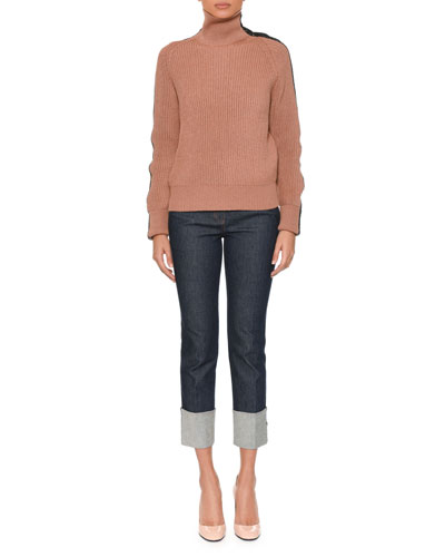 Turtleneck Long-Sleeve Knit Sweater w/ Intrecciato Suede Trim and Matching Items