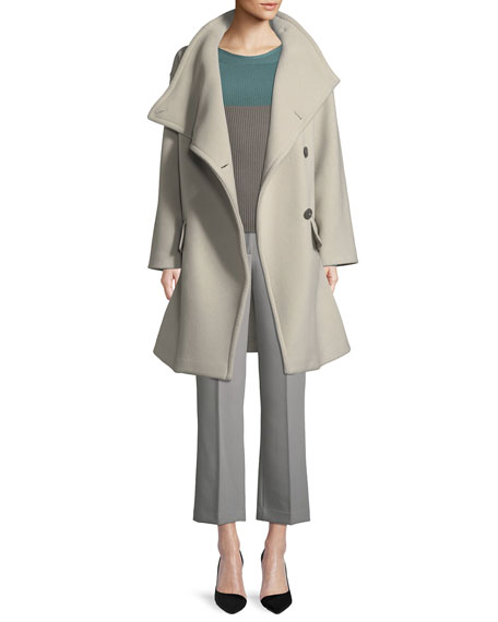 High-Collar Wool Drama Coat