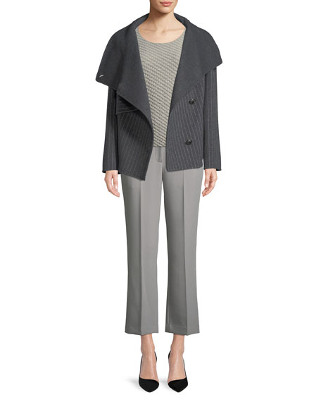Button-Front Pinstripe Wool Caban Coat