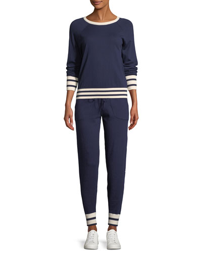 Axel Striped-Trim Cropped Tennis Sweater and Matching Items