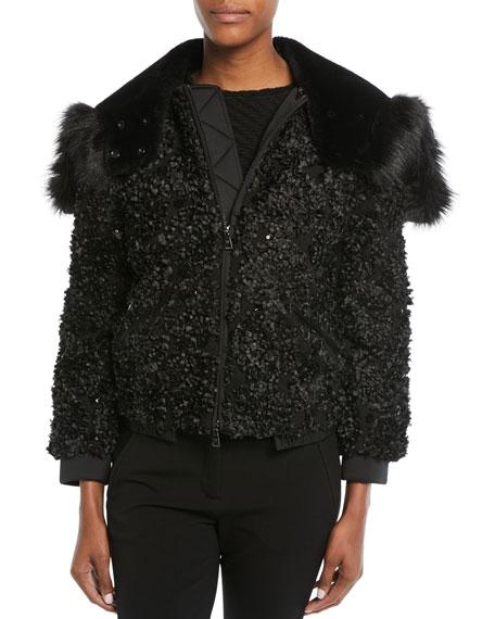 Embellished Zip-Front Jacket w/ Detachable Faux-Fur Trimmed Hood