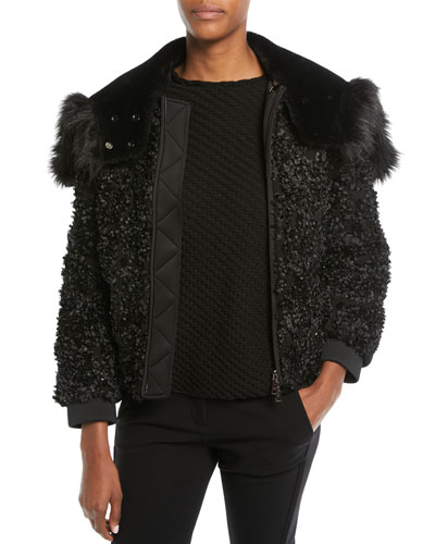 Embellished Zip-Front Jacket w/ Detachable Faux-Fur Trimmed Hood and Matching Items