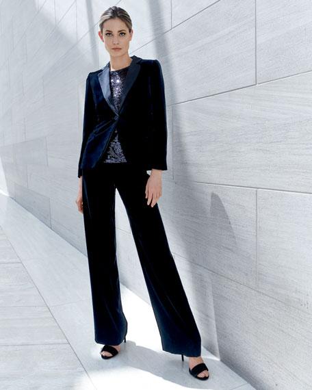 One-Button Classic Velvet Tuxedo Jacket