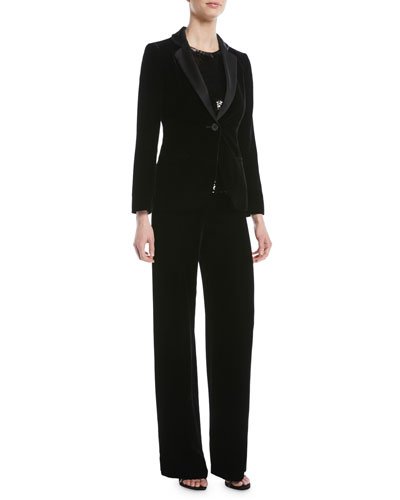 One-Button Classic Velvet Tuxedo Jacket and Matching Items