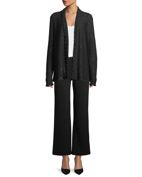 Open-Front Sequin Knit Cardigan w/ Silk Georgette Trim