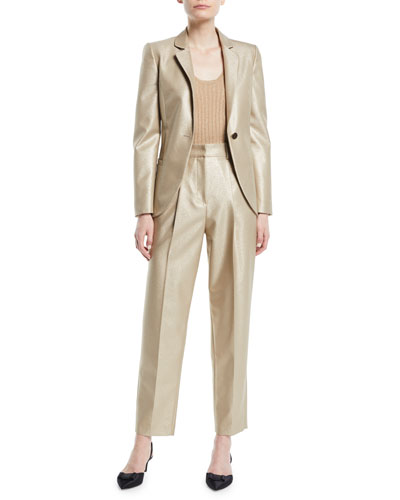 One-Button Metallic Wool Classic Jacket and Matching Items