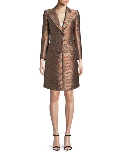 One-Button Classic Metallic Jacquard Jacket and Matching Items