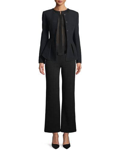 Side-Zip Textured Stretch-Jersey Flared-Leg Pants and Matching Items
