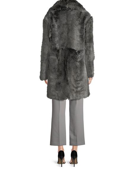 Reversible Leather Shearling Fur Long Coat