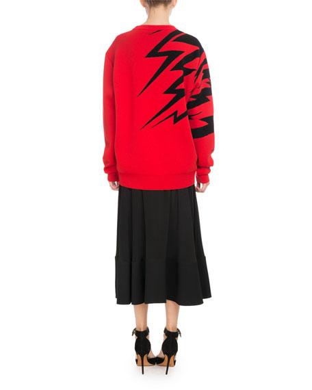 Crewneck Long-Sleeve Tiger-Print Jacquard Sweater