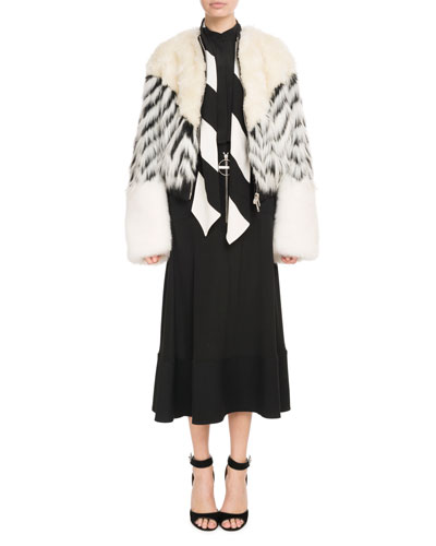 Faux-Fur Shearling Oversized Zip-Front Bomber Coat and Matching Items