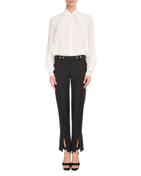 Long-Sleeve Button-Front Silk Georgette Blouse w/ Ruffle Detail