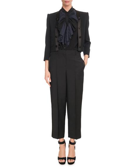 Long-Sleeve Crop Wool-Crepe Jacket w/ Satin Lapel