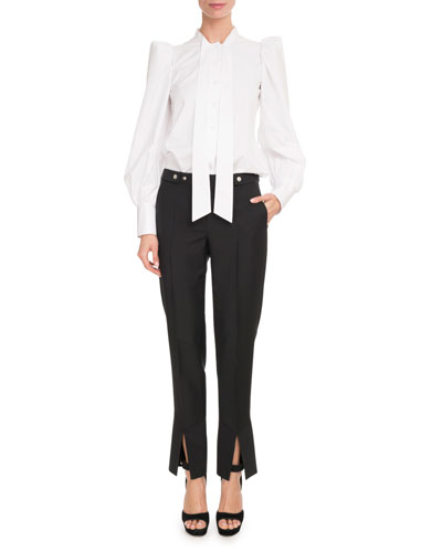 Long-Sleeve Strong-Shoulder Cotton Poplin Blouse and Matching Items