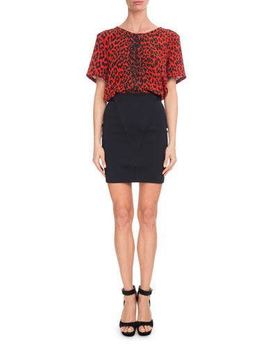 Short-Sleeve Leopard-Print Silk Crepe de Chine Blouse and Matching Items