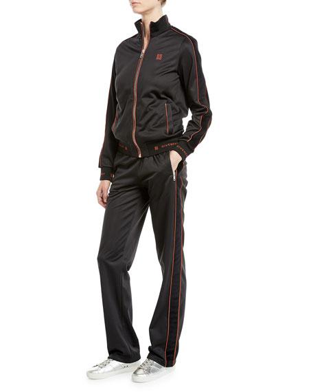 Zip-Front Velvet Side-Stripe GG-Logo Tech Jersey Track Jacket