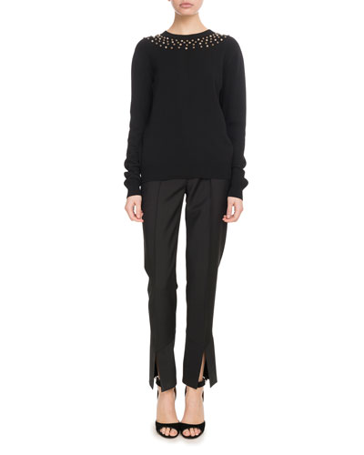 Long-Sleeve Studded-Neck Fitted Wool-Cashmere Sweater and Matching Items