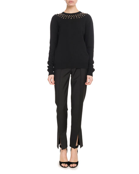 Long-Sleeve Studded-Neck Fitted Wool-Cashmere Sweater