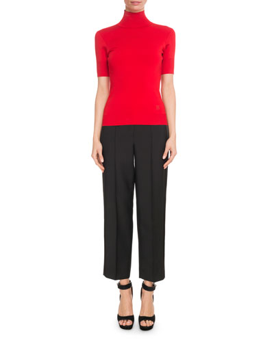 Short-Sleeve Turtleneck Viscose-Knit Top and Matching Items