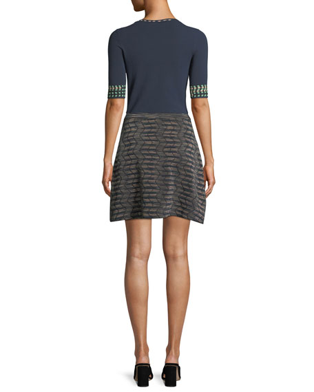 Graphic-Cuff Solid Knit Top