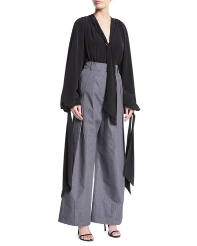 Crispy High-Waist Wide-Leg Pleated Pants and Matching Items