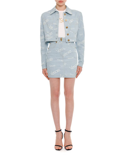 Button-Front Cropped Denim Jacket and Matching Items