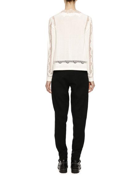 Long-Sleeve Lace-Inset V-Neck Sweater