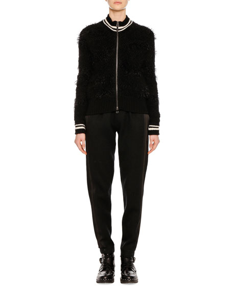 Zip-Front Wool-Alpaca Jacket with Striped Athletic Collar