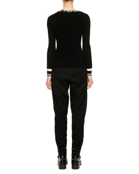 V-Neck Long-Sleeve Wool Sweater w/ Lace Applique