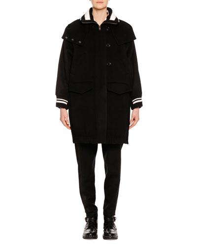 Zip-Front Knee-Length Athletic Collar & Cuff Parka Coat and Matching Items
