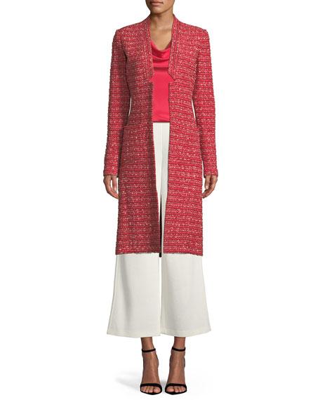 Boucle Striped Knit Long Jacket