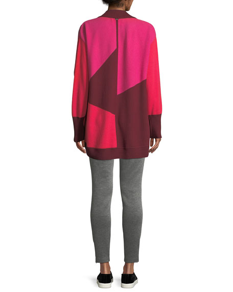 Links Cashmere Colorblock Intarsia Cocoon Cardigan