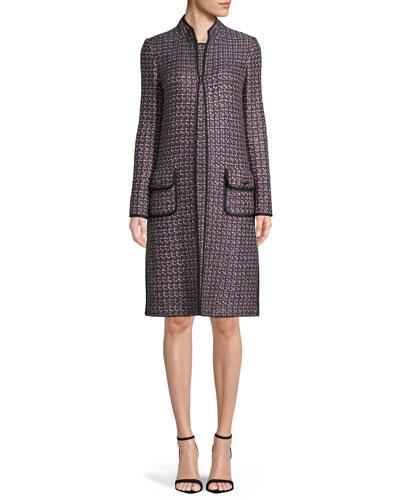 Sleeveless Painterly Sheen Tweed Knit Sheath Dress and Matching Items