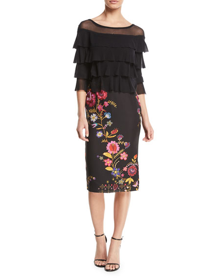 3/4-Sleeve Tiered Ruffled Tulle Top