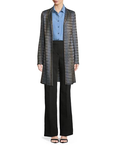Long-Sleeve Silk Georgette Blouse