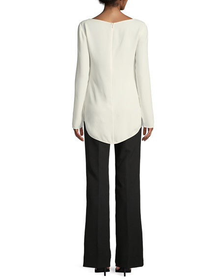 Long-Sleeve Tie-Waist Georgette Top