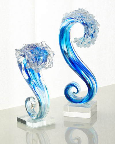 Art Glass Small Wave Glass Sculpture  and Matching Items
