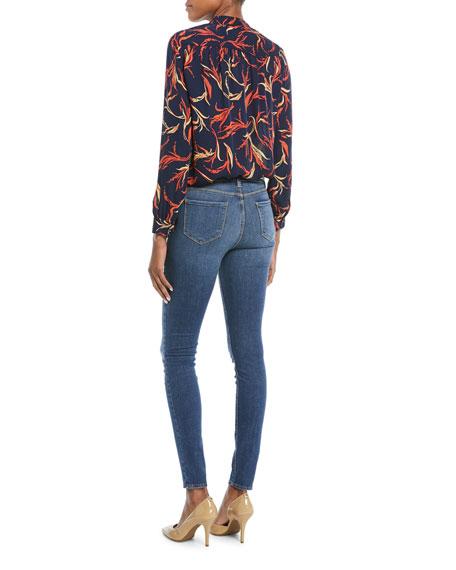 Bianca Band-Collar Floral-Print Silk Blouse