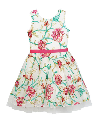 Crewel Floral Embroidered Mesh Party Dress, Size 2-6X and Matching Items
