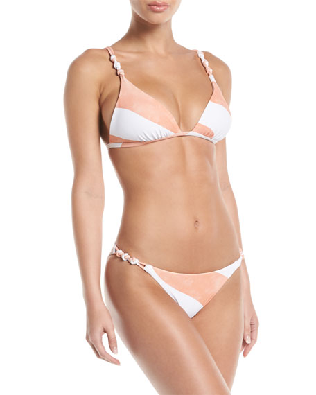Balm Rope Striped Knotted Triangle Bikini Top