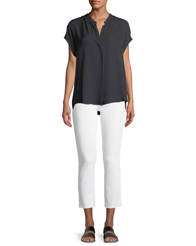 Silk Split-Back Short-Sleeve Popover Top and Matching Items