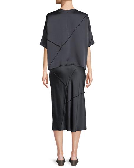 Raw-Edge Silk Short-Sleeve Tee