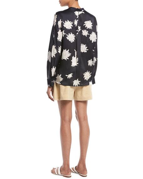 Silk Chrysanthemum Floral Long-Sleeve Pocket Blouse